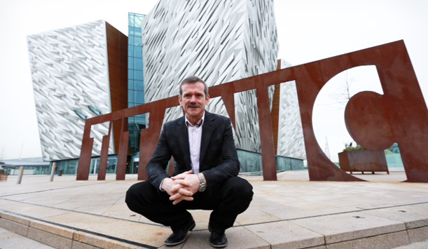 Astronaut Chris Hadfield outside Titanic Belfast