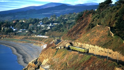 The DART train travels past Killiney in South Dublin