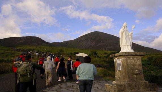 Pilgrims climb Croagh Patrick, County Mayo