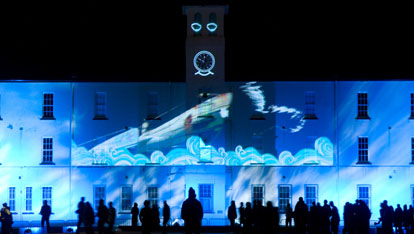 Another work of art projected onto Ebrington Barracks
