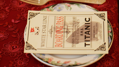 A Titanic boarding pass in the dining room at Rayanne House