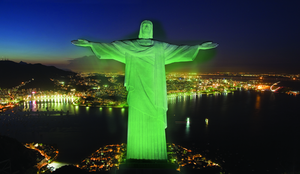 Christ the Redeemer in Rio de Janeiro. Green. 
