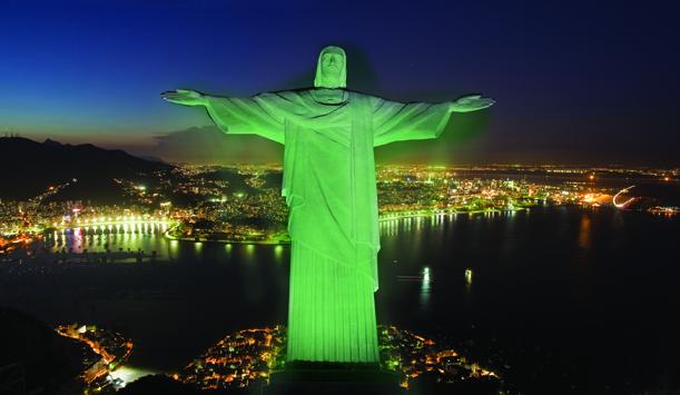 Christ the Redeemer in Rio de Janeiro. Green.