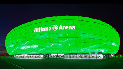 Munichs Allianz Arena goes emerald 
