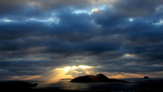 Sun shines on the Blasket Islands