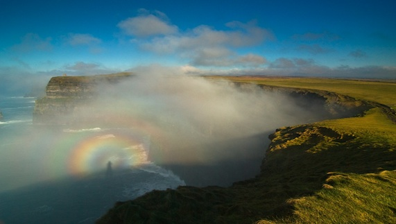 A photographic phonomenon known as a 'Brocken spectre' occuring over the cliffs