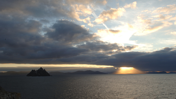A sunset hits County Kerry's coast just adjacent to Little Skellig