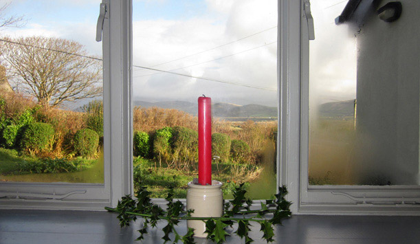 A candle in the window in Dingle, County Kerry