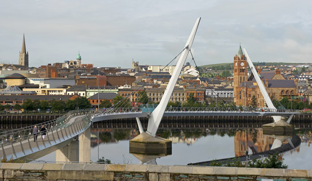 The Peace Bridge over the River Foyle in Derry~Londonderry