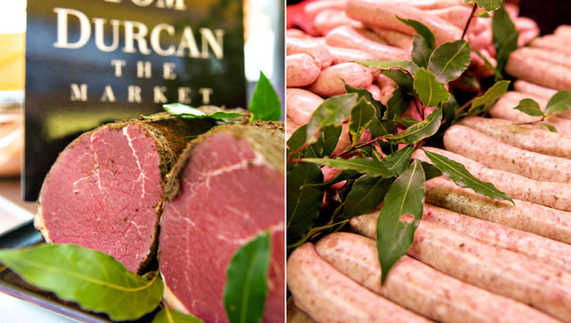 "Spiced beef and artisanal sausages provided by <a href=""http://www.tomdurcanmeats.ie/"" >Tom Durcan</a>"
