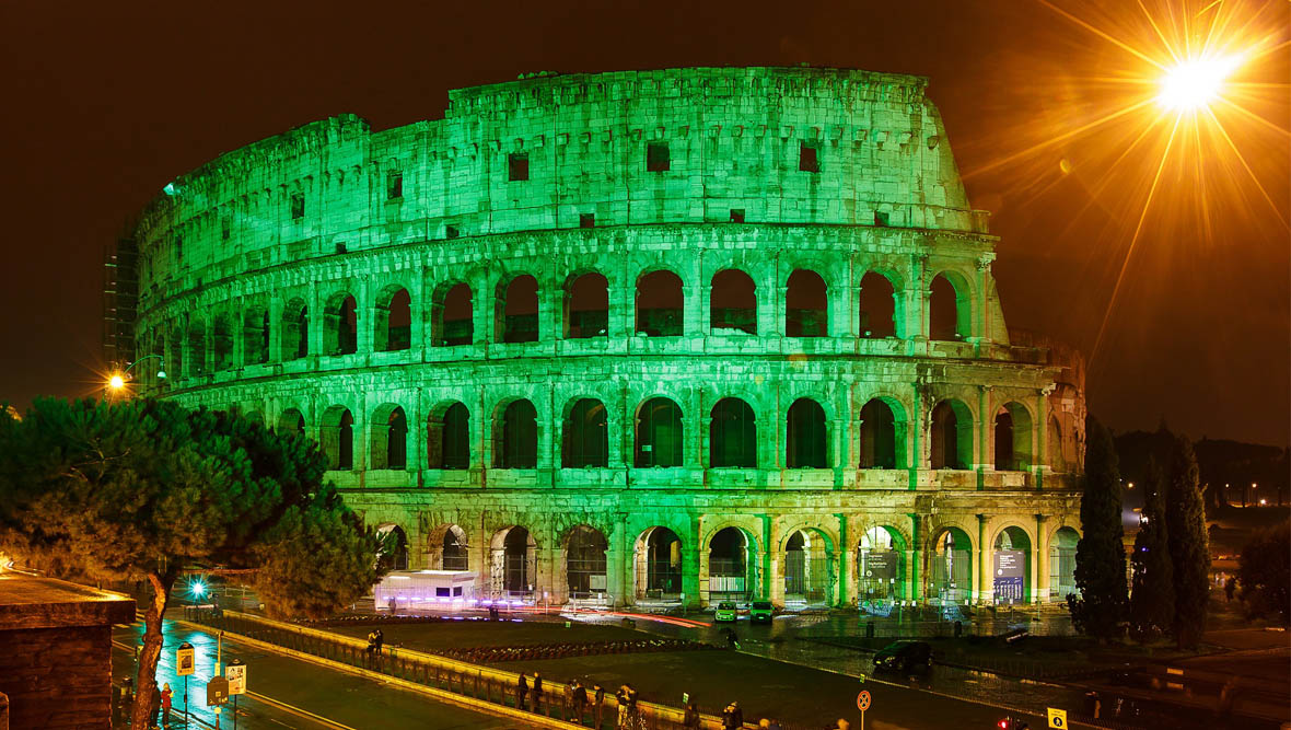 Colosseo Verde per la festa di San Patrizio