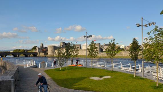 A sunny River Shannon boardwalk, Limerick City