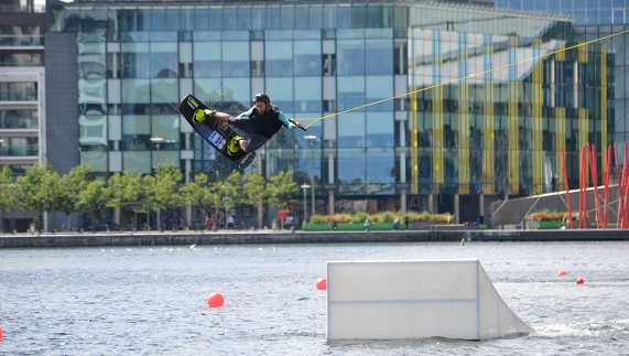 Wakeboarding in Grand Canal Dock
