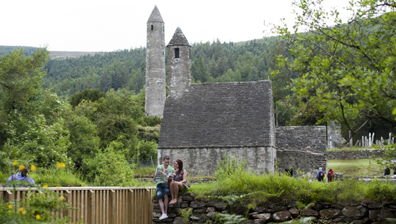 The round towers at Glendalough, County Wicklow
