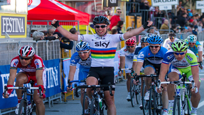 "Cycling sprinter Mark Cavendish reaches the finish line provided by <a href=""http://www.shutterstock.com/gallery-308011p1.html"" >William Perugini/Shutterstock</a>"