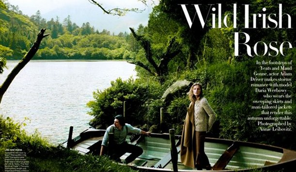 "The shoot in the September 2013 issue of Vogue US provided by <a href=""http://www.vogue.com/magazine/article/wild-irish-rose-adam-driver-and-daria-werbowy/#1"" >Vogue</a>"