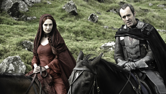 "Lady Melisandre and Stannis Baratheon prepare to strike (Murlough Bay, County Antrim) provided by <a href=""http://www.hbo.com/game-of-thrones"" >© HBO</a>"
