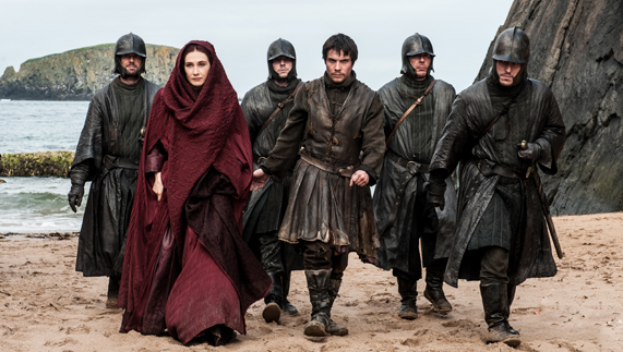 "The Red Priestess arrives at Dragonstone (Murlough Bay, County Antrim) provided by <a href=""http://www.hbo.com/game-of-thrones"" >© HBO</a>"