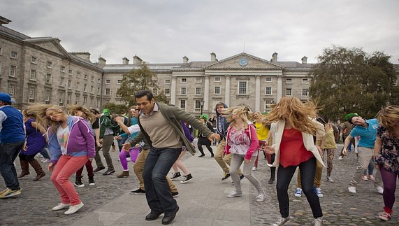 Dance scene from 'Ek Tha Tiger' outside Trinity College Dublin