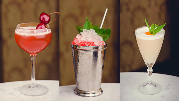 "L to R: Millionaire; Pearl Street Julep; Pegu Club provided by <a href=""http://vintagecocktailclub.com/"" >Vintage Cocktail Club</a>"