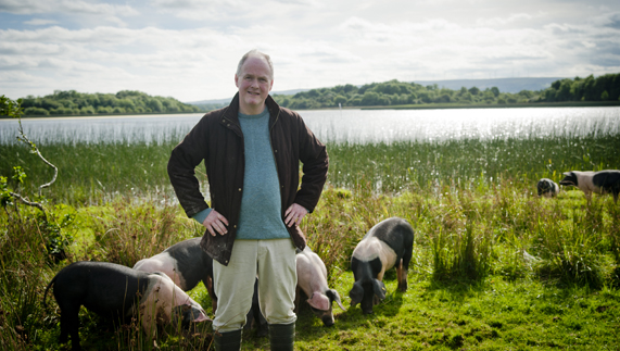 Pat O'Doherty and his black pigs on Inishcorkish