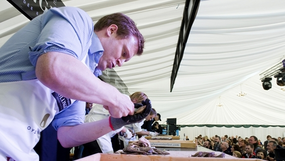 A competitor shucking at The Galway International Oyster Festival