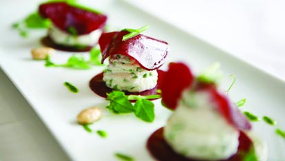 Local goats' cheese and beetroot salad
