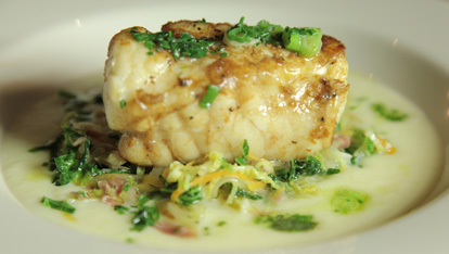 Roast monkfish with Irish style cabbage and green scallion butter