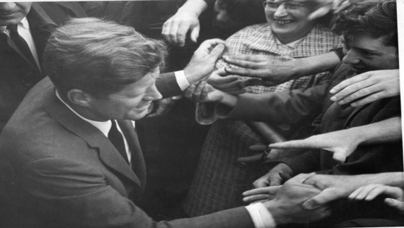 JFK being greeted by Irish