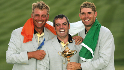 Darren Clarke, Paul McGinley and Padraig Harrington at the 2006 Ryder Cup, The K Club in County Kildare