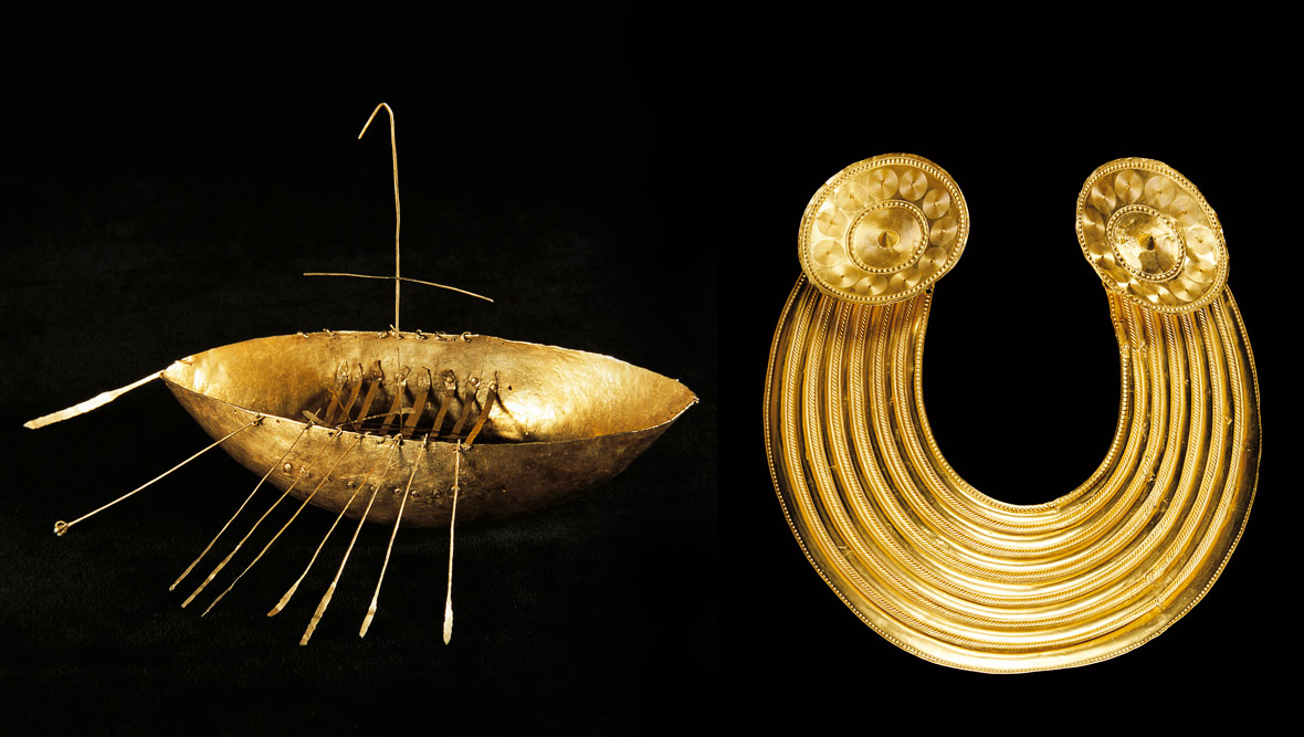 Broighter Boat and Glenisheen gold collar, courtesy of National Museum of Ireland