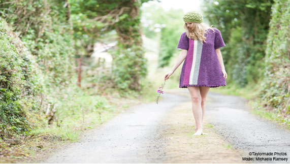 Purple knit dress by Edel MacBride. Photo by Taylormade Photography