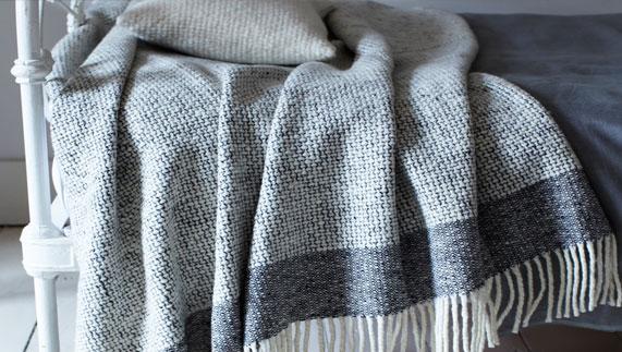 Mended tweed blanket by Mourne Textiles
