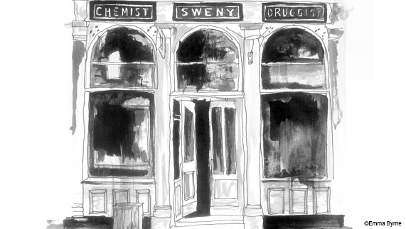 Sweny's chemist from Ulysses, drawn by Emma Byrne