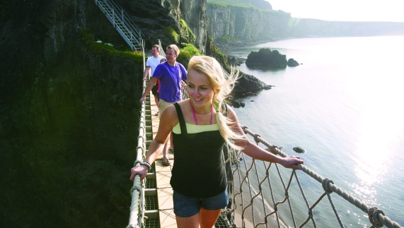 Cross the Carrick-a-Rede rope bridge, County Antrim