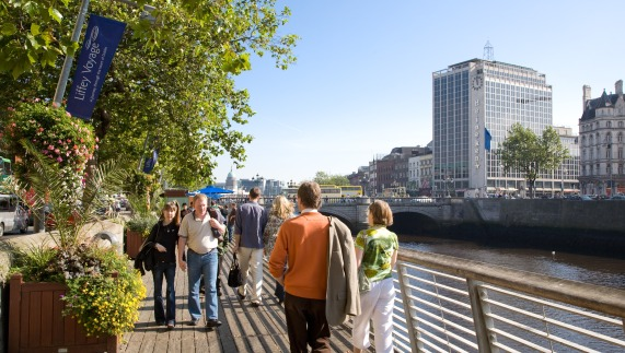 Enjoying a stroll on the River Liffey Walkway, Dublin city