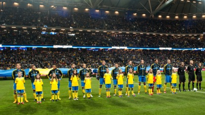 "Sweden line up at Friends Arena provided by <a href=""http://svenskfotboll.se/"" >Svensk Fotboll</a>"