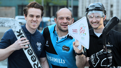 Belfast Giants' Stephen Murphy, rugby player Rory Best & Kyle Gordon, NI Tridents captain
