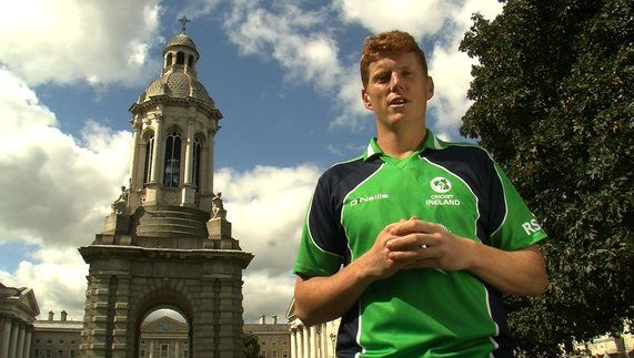 Irish cricketer, Kevin O'Brien in Trinity College Dublin