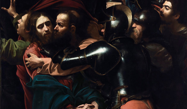"Caravaggio's The Taking of Christ provided by <a href=""https://www.nationalgallery.ie/"" >The National Gallery of Ireland</a>"