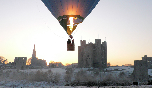 A hot air balloon by Trim Castle, County Meath