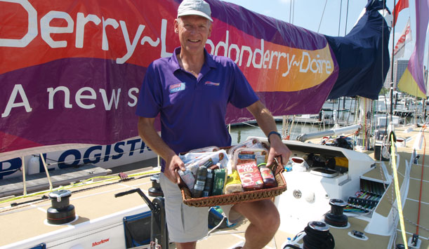 Crew member Richard Popper receiving our delicious hamper!