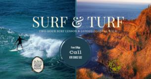 2 hour surf lesson and 4 hour guided clifftop walk from 60 per person