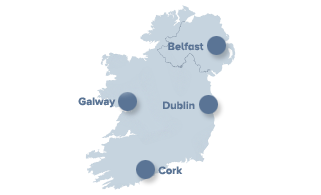 Map of Belfast, Dublin, Cork and Galway