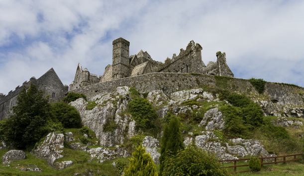 Looking up at the Rock of Cashel and Cormac's Chapel