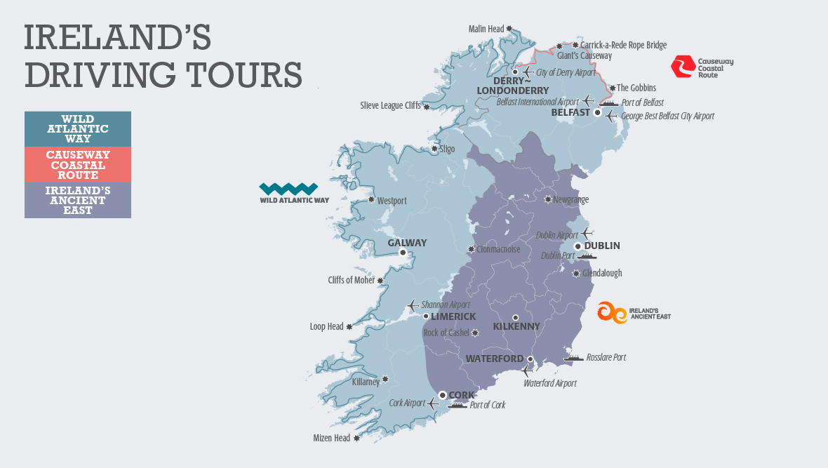 Ireland's Driving Routes Map