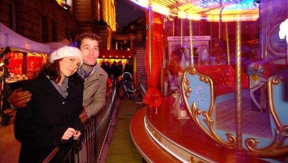 Vintage carousel at Belfast Continental Christmas Market