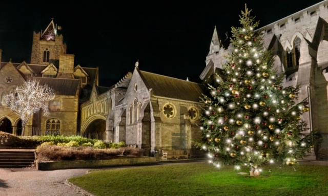 traditional Irish Christmas churchg with tree