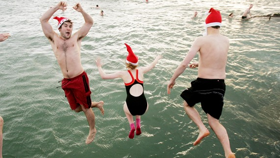 This is how they celebrate Christmas at the Forty Foot, Sandycove