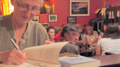 Felicity at her book launch in Dingle